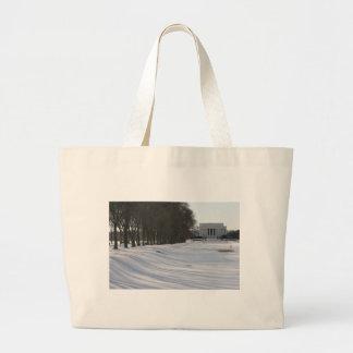 nieve del Lincoln memorial Bolsa De Mano