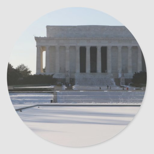 nieve del Lincoln memorial Etiqueta Redonda