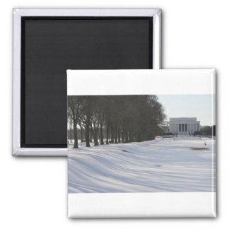 nieve del Lincoln memorial Imán Cuadrado