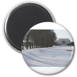 nieve del Lincoln memorial Imán Redondo 5 Cm