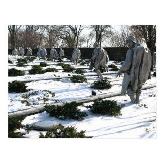 Nieve del monumento de los veteranos de Guerra de Postales