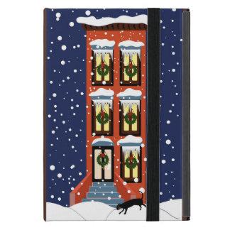 Nieve del navidad de la arenisca de color oscuro iPad mini cárcasa