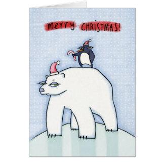 Nieve del navidad del oso polar tarjeta de felicitación