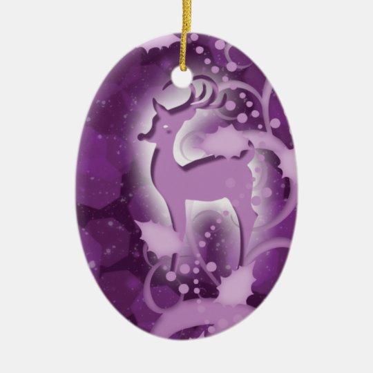 Nieve del navidad del reno adorno navideño ovalado de cerámica