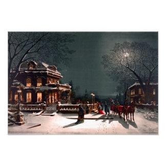 Nieve del trineo de la mansión del fiesta de la fotografías