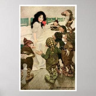 """""""Nieve-Descenso y los siete pequeños hombres"""" Posters"""
