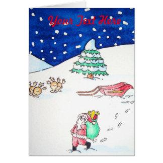 nieve divertida linda del reno de santa que tarjeta de felicitación