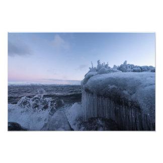 Nieve e hielo en la impresión de la foto de la
