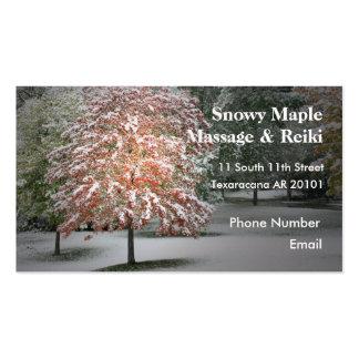 Nieve en árboles de arce tarjetas de negocios