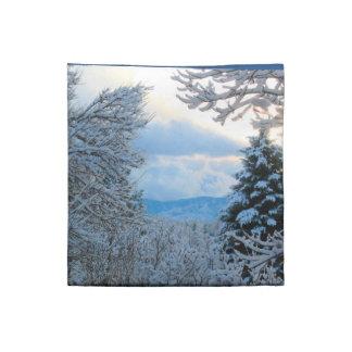 Nieve en árboles de pino en las montañas rocosas servilleta