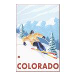 Nieve en declive SkierColorado Impresiones En Lienzo Estiradas