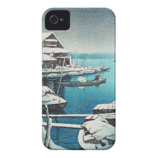 Nieve en el arte del hanga de la espinilla de Mukô iPhone 4 Case-Mate Cárcasas