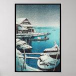 Nieve en el arte del hanga de la espinilla de Mukô Poster