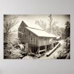 Nieve en el molino de Yates - Raleigh, Carolina de Impresiones