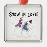 Nieve en el ornamento del recuerdo de los muñecos  ornamentos de navidad