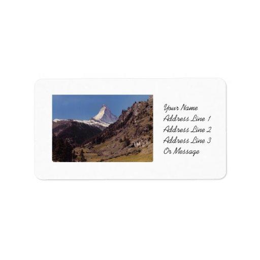 Nieve en etiquetas alpinas del bosque del cielo az