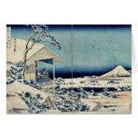 Nieve en Koishikawa por Katsushika, Hokusai Ukiyoe Felicitacion