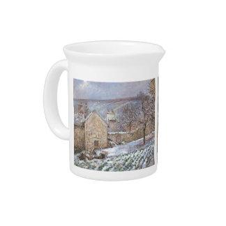 Nieve en la ermita, Pontoise de Camilo Pissarro- Jarrones