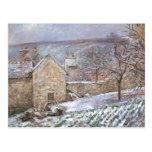 Nieve en la ermita, Pontoise de Camilo Pissarro- Tarjetas Postales