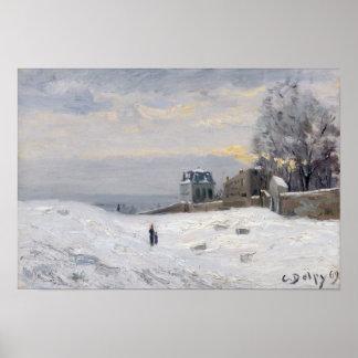 Nieve en Montmartre 1869 Poster
