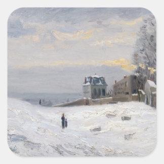 Nieve en Montmartre 1869 Calcomanías Cuadradass