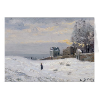 Nieve en Montmartre 1869 Tarjeton