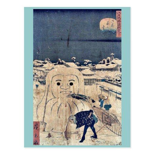 Nieve en Onkuramae por Utagawa, Hirokage, Ukiyoe Tarjetas Postales