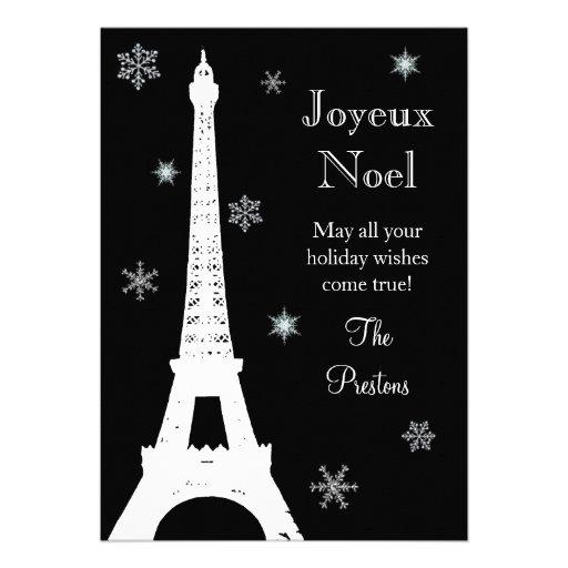 Nieve en tarjeta del día de fiesta de París Comunicados Personales