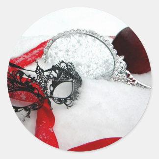 Nieve enmascarada del Queens Pegatina Redonda
