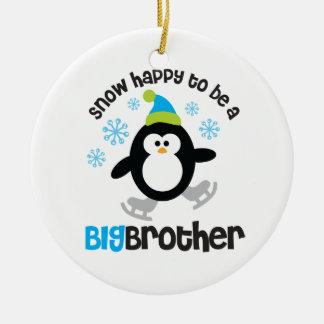 Nieve feliz de ser un hermano mayor adorno redondo de cerámica