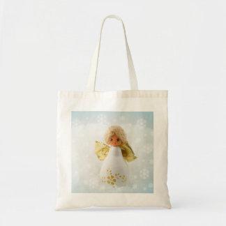 Nieve feliz del ángel del navidad del amor bolsa tela barata