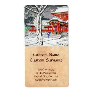 Nieve fresca en la capilla Kyoto del hachiman del  Etiqueta De Envío