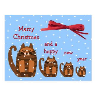 nieve gorda grande de Navidad del rufus del gato Postales