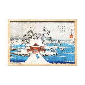 Nieve japonesa fresca de la capilla del lago del u lienzo envuelto para galerías