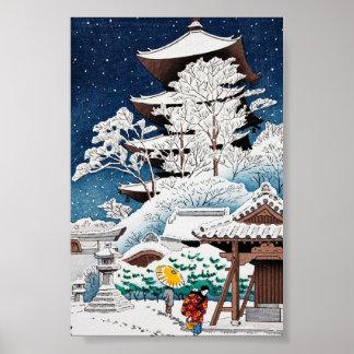 Nieve japonesa oriental fresca del invierno de Kaw Impresiones