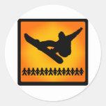 nieve ligera de la snowboard etiqueta redonda