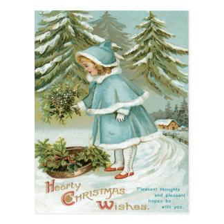 Nieve linda del acebo de la cosecha de la niña tarjeta postal