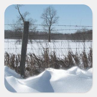 Nieve majestuosa pegatina cuadrada
