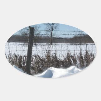 Nieve majestuosa pegatina ovalada
