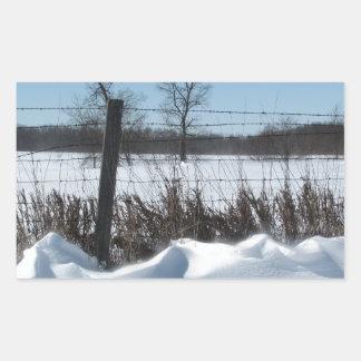 Nieve majestuosa pegatina rectangular