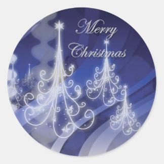 Nieve moderna del árbol de navidad n pegatinas redondas