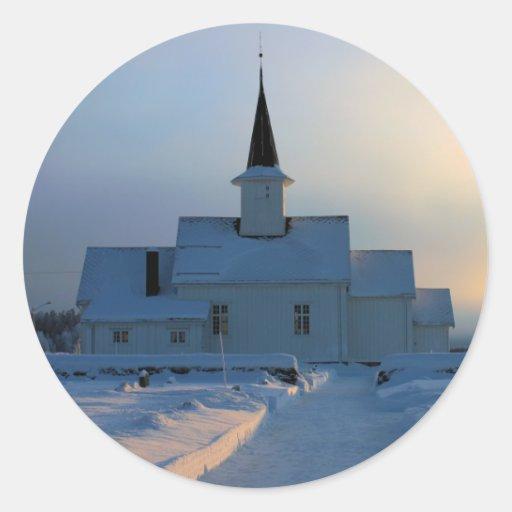 Nieve noruega etiquetas redondas