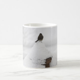 Nieve-pájaro en una taza de la nevada