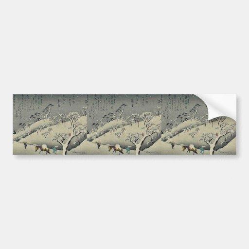 Nieve persistente en Asukayama por Ando, Hiroshige Etiqueta De Parachoque