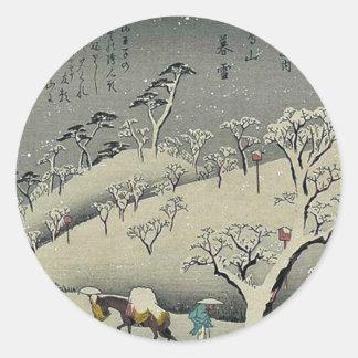 Nieve persistente en Asukayama por Ando, Hiroshige Etiqueta