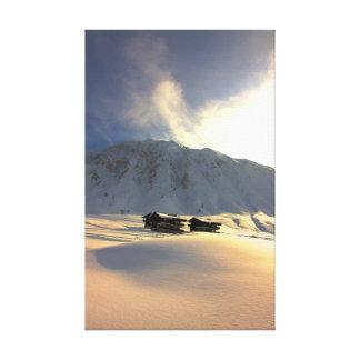 Nieve profunda del invierno del clarete de Val Impresión De Lienzo