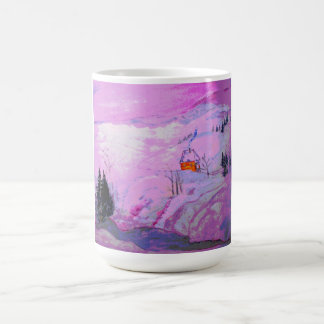 nieve púrpura del claro de luna taza clásica