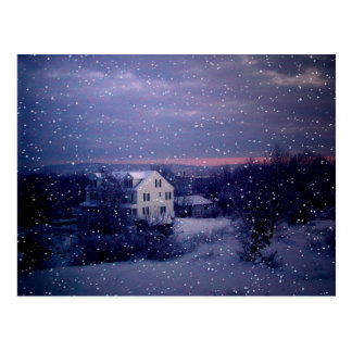 Nieve que cae en Manchester Tarjeta Postal