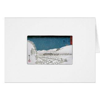 Nieve que cae en una ciudad, Japón circa 1851-52 Tarjeta De Felicitación