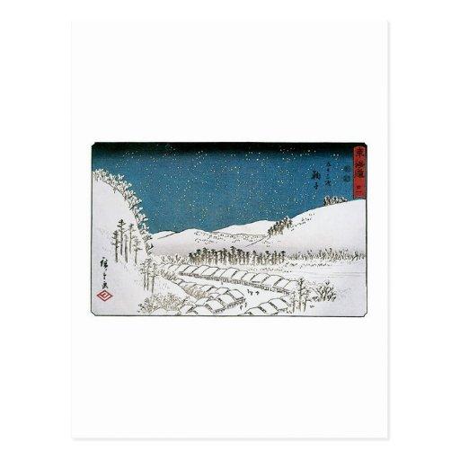 Nieve que cae en una ciudad, Japón circa 1851-52 Tarjeta Postal